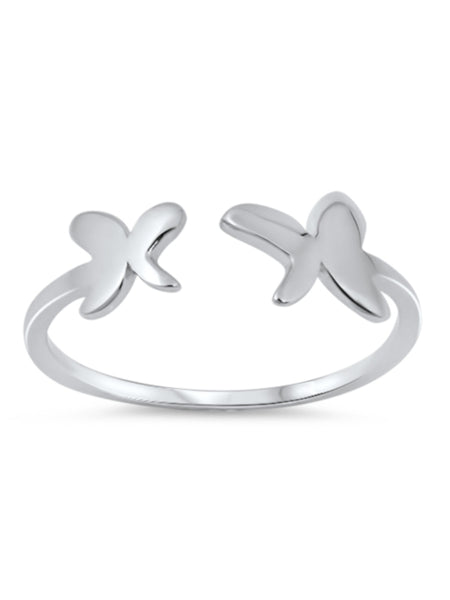 Open End Butterfly Ring, 925 Sterling Silver, Christian Inspired Jewelry