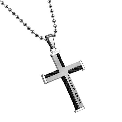 Isaiah 40:31 Cable Cross Pendant