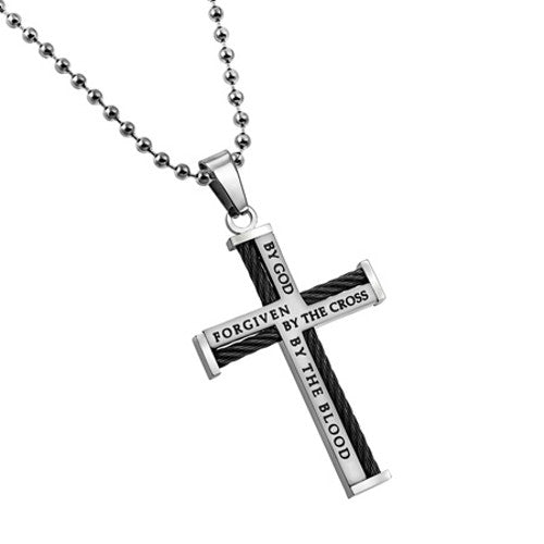 Cable Cross Necklace John 15:13 Forgiven