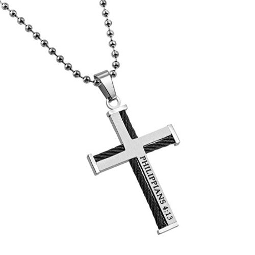 Men's Scripture Cross Necklace Philippians 4:13
