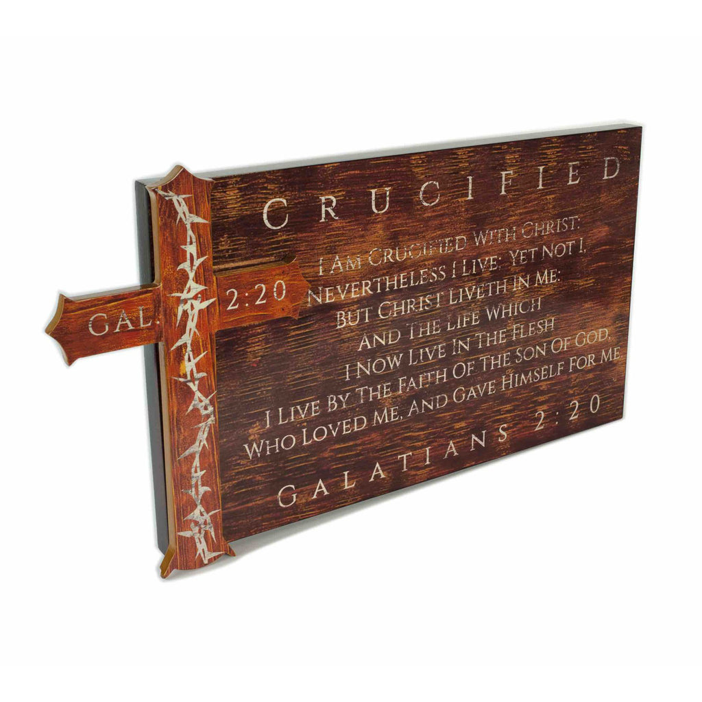Christian Cross Wall Decor GALATIANS 2 20 Wooden Plaque