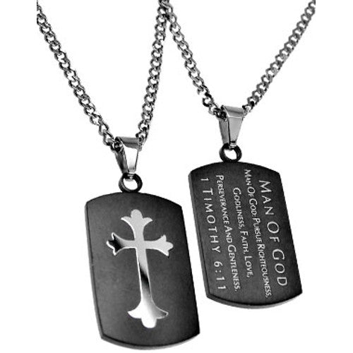 Christian Dog Tag Man of God, Bible Quote Necklace with Stainless Steel Curb Chain