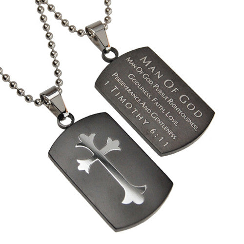 Christian Dog Tag Man of God, Bible Quote Necklace with Stainless Steel Ball Chain