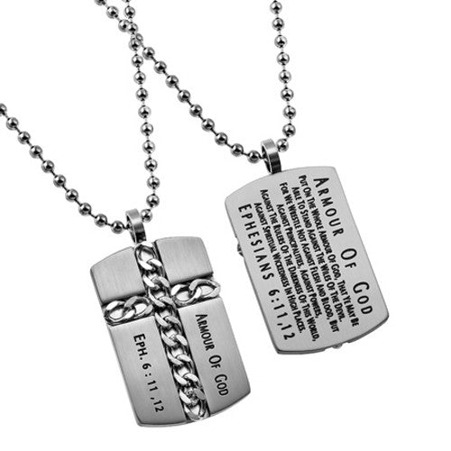 Religious Dog Tag Armour Of God Ephesians 6 11 12 Stainless Steel With Ball Chain North Arrow Shop Has been added to your cart. north arrow shop