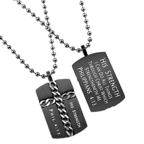 Christian Dog Tag Cross Necklace Philippians 4:13