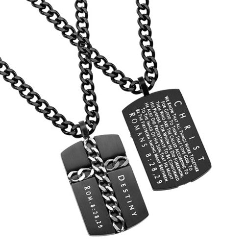 Christian Dog Tag Cross Necklace, Romans 8:28,29 DESTINY, Steel Curb Chain