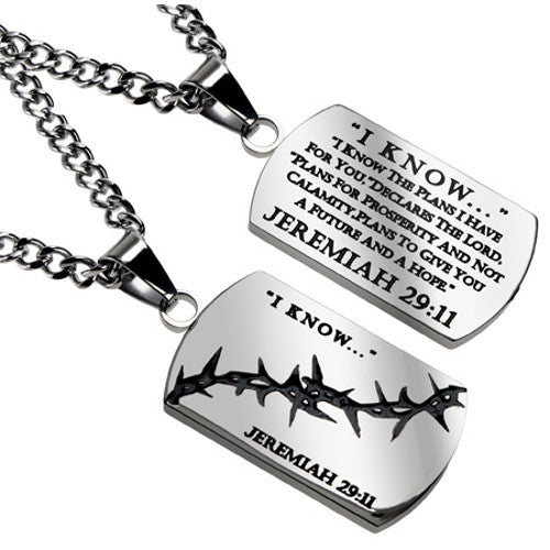 Jeremiah 29:11 I KNOW Christian Dog Tag with Crown of Thorns, Stainless Steel Curb