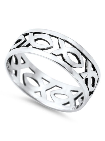 Ichthus Ring Sterling Silver, Christian Fish Link with Gift Box