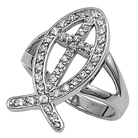 Christian Fish Ring with Cross