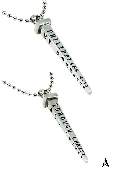 Men's Cross Nail Necklace, Philippians 4:13 STRENGTH, Stainless Steel Ball