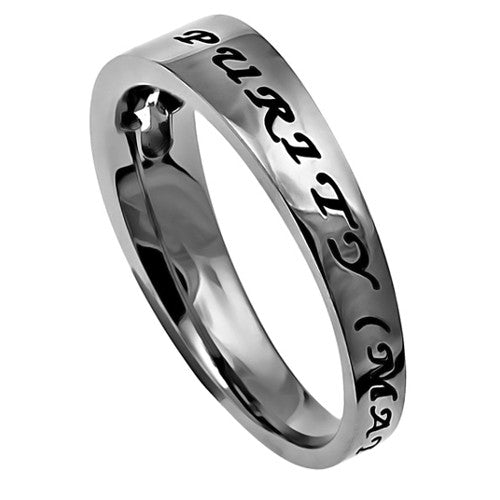 Purity Ring for Girls with Bible Verse, Stainless Steel Cut Out Cross