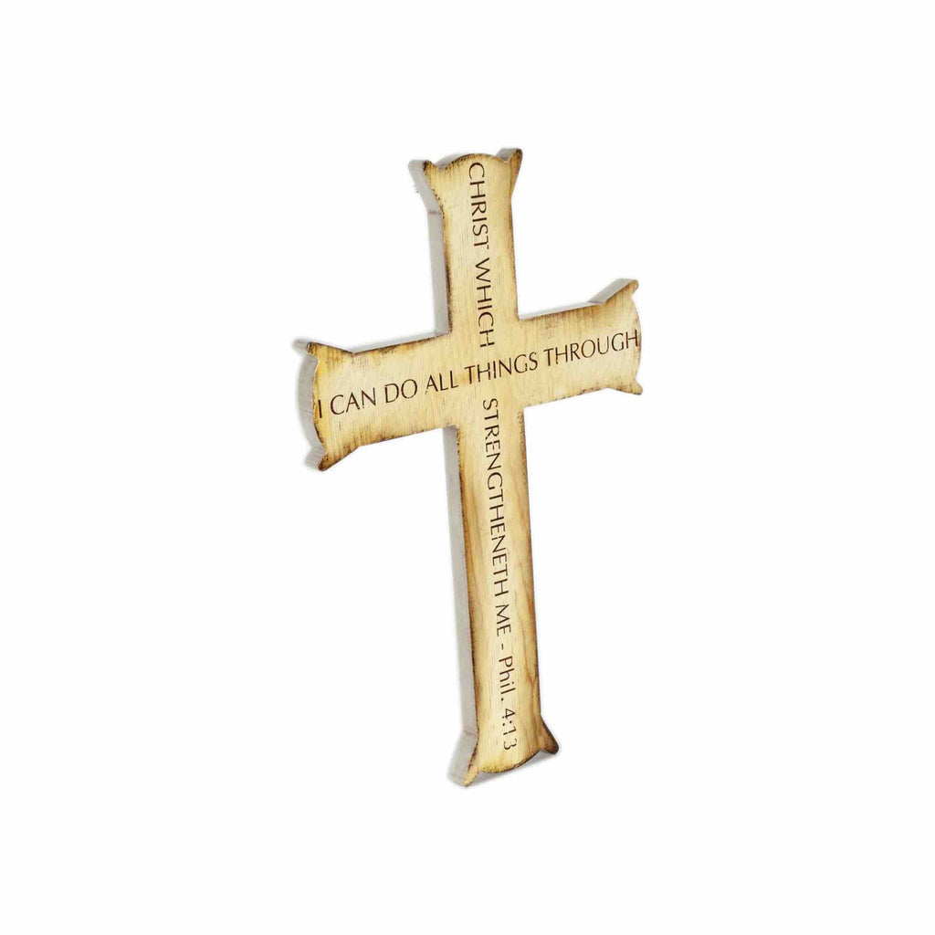 Cross Wall Decor, CHRIST MY STRENGTH, Tan Color Wood – North Arrow Shop