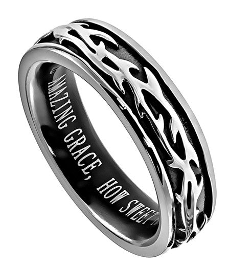 Crown of Thorns Amazing Grace Ring
