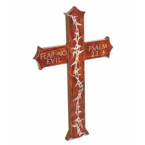 Crown of Thorns Cross Psalm 23 Christian Office Decor
