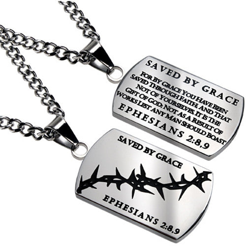 Crown of Thorns Dog Tag Ephesians 2:8 9 Amazing Grace