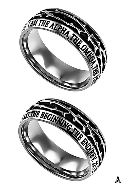 ALPHA AND OMEGA Revelation 22:13 Men's Crown Of Thorns Ring, Stainless Steel