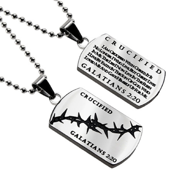 Christian Dog Tag Galatians 2:20, CRUCIFIED, Crown of Thorns, Stainless Steel Bead Chain
