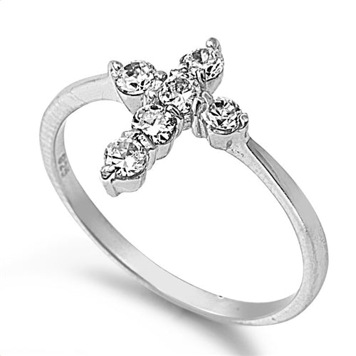 Cubic Zirconia Cross Ring Silver