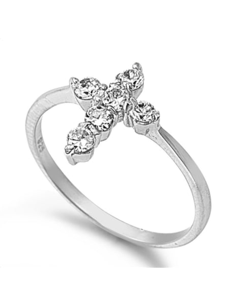 Cubic Zirconia Cross Ring Silver Real