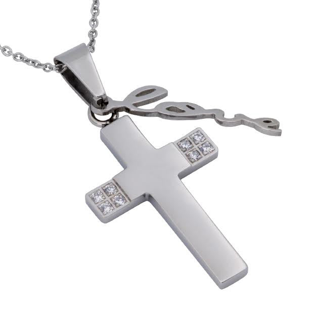 Cursive LOVE Necklace Cross, 1 Corinthians 13 Bible Verse, Stainless Steel  Chain