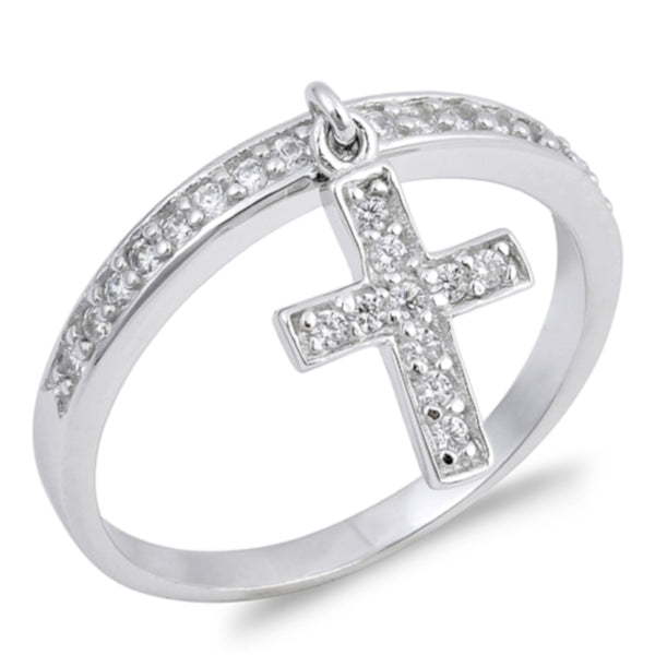 Dangling Cross Ring with Diamonds