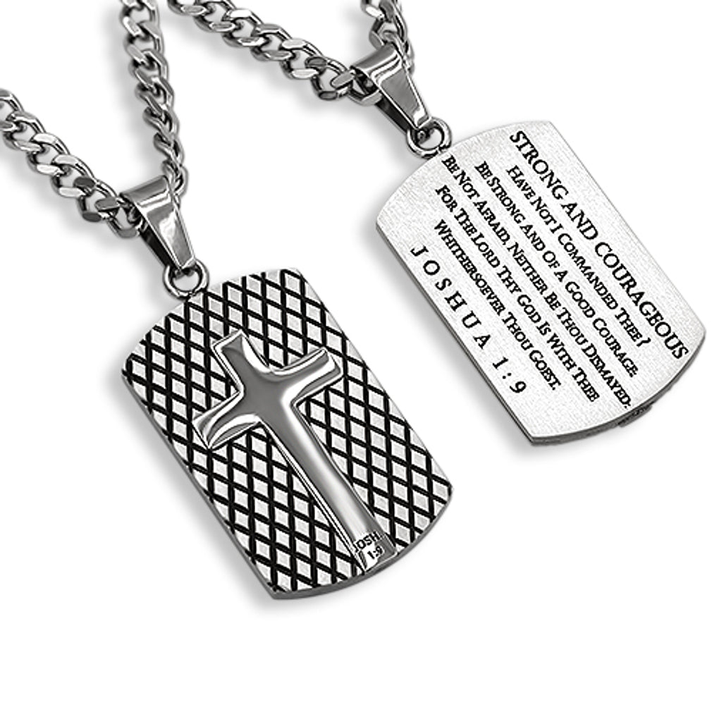 Diamond Back Shield Cross Silver STRONG AND COURAGEOUS