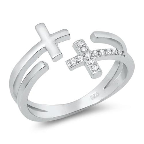 Double Cross Ring Open Ended Silver
