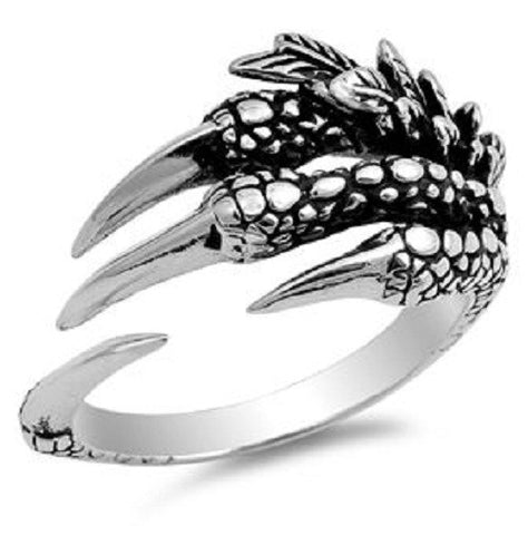 Eagle Claw And Feather Ring, 925 Sterling Silver, Open End Bible Verse