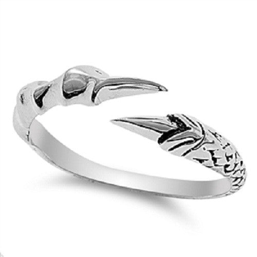 Eagle Claw Ring, Open End Bible Verse Jewelry, Sterling Silver