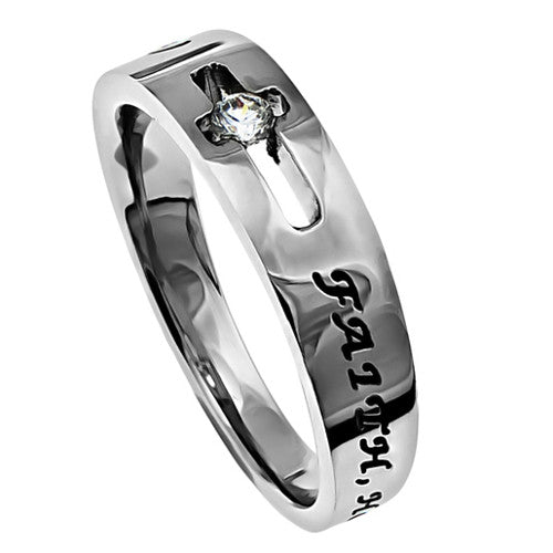 Faith Hope Love Ring 1 Corinthians 13:13 Bible Verse, Stainless Steel Cut Out Cross