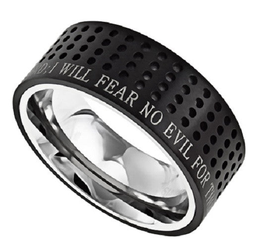 Black Christian Ring, Bible Verse Psalm 23 FEAR NO EVIL, Dotted
