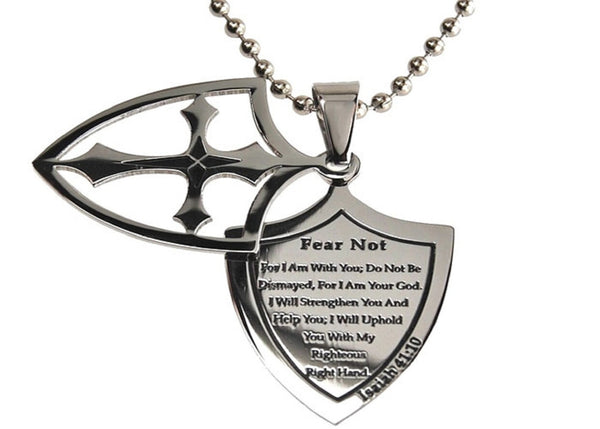 Fear Not Necklace Two Piece Cross Shield with Bible Verse, Stainless Steel Ball Chain