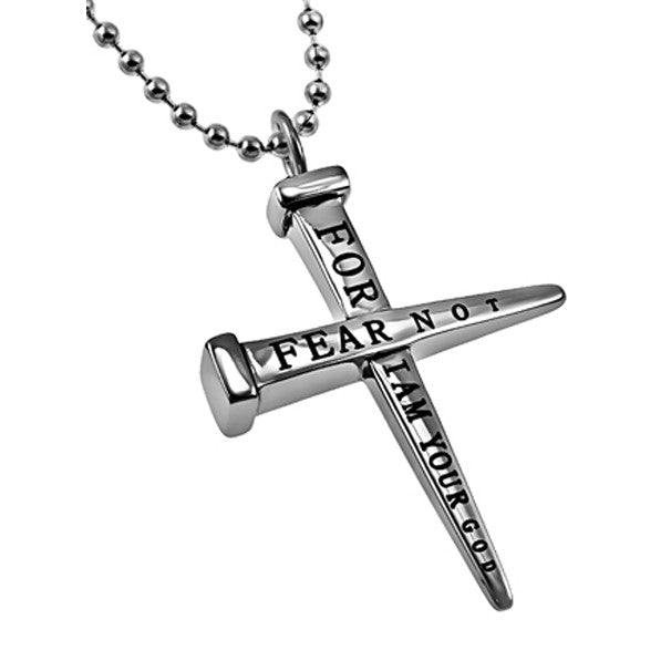 Nail Cross Necklace Bible Verse Isaiah 41:10 Fear Not Jewelry, Stainless Steel Bead Chain
