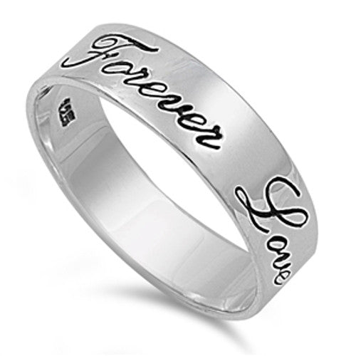 Forever Love Ring, Sterling Silver Band with Handwriting Engraving