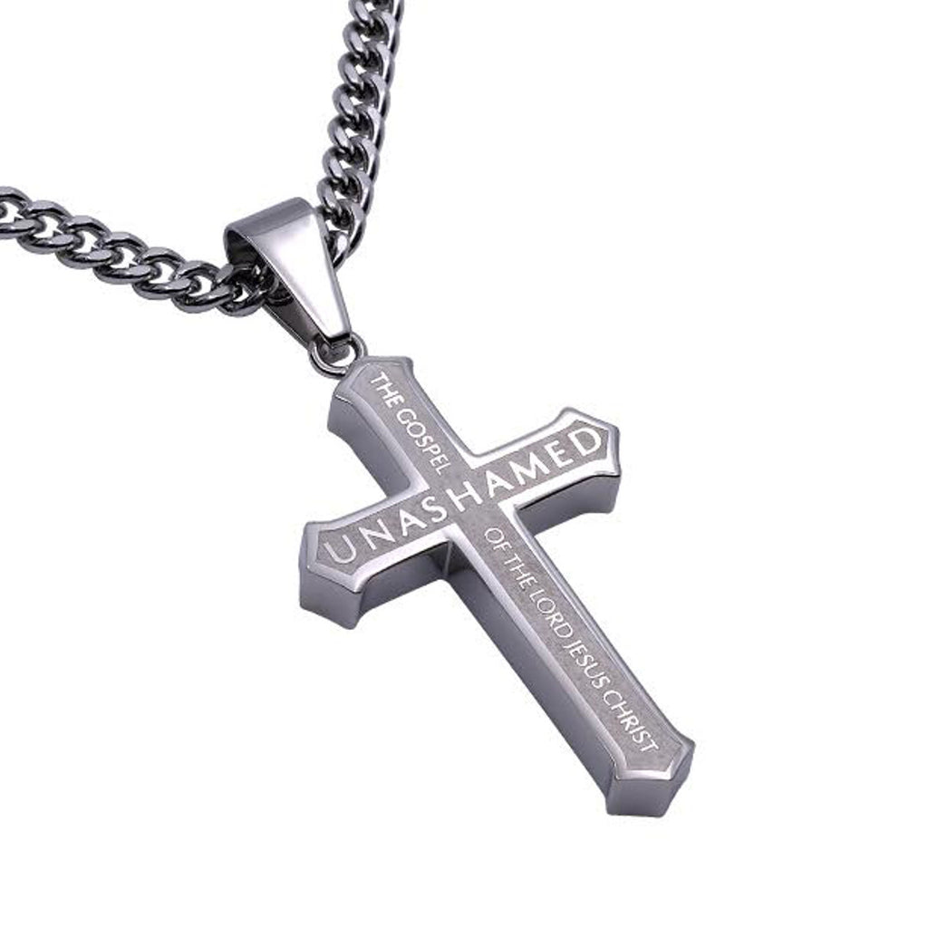 Romans 116 stainless steel cross necklace with satin finish gospel mens metal cross necklace aloadofball Images