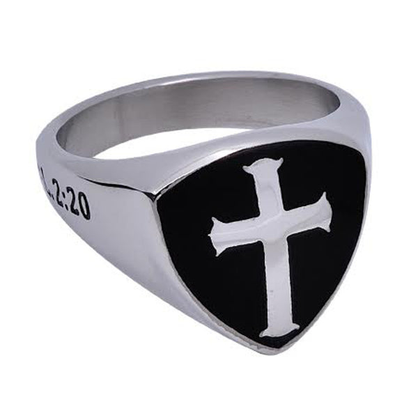 CRUCIFIED Black Signet Shield Cross Ring