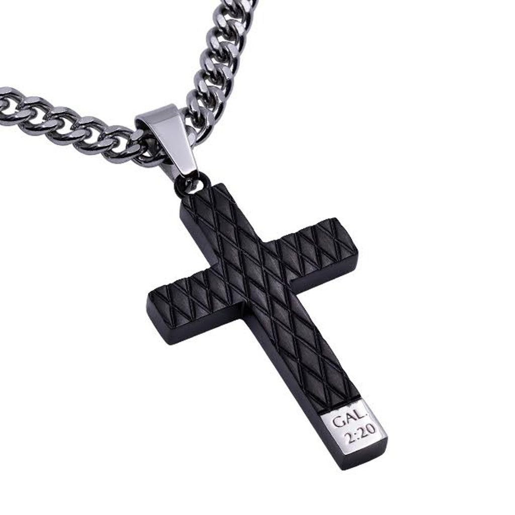 Galatians 2:20 Black Cross Stainless Steel Necklace