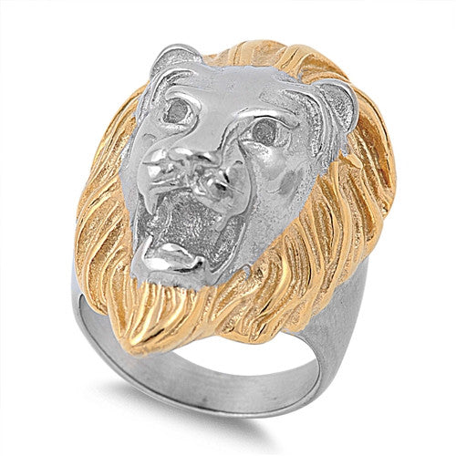 Gold Plated Lion Ring, Stainless Steel with Jewelry Gift Box