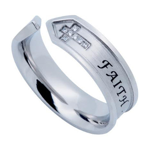 Hall of FAITH Open End Ring, Double Cross Stainless Steel with CZ