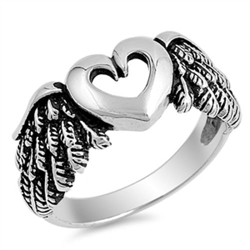 Heart With Wings Ring Silver