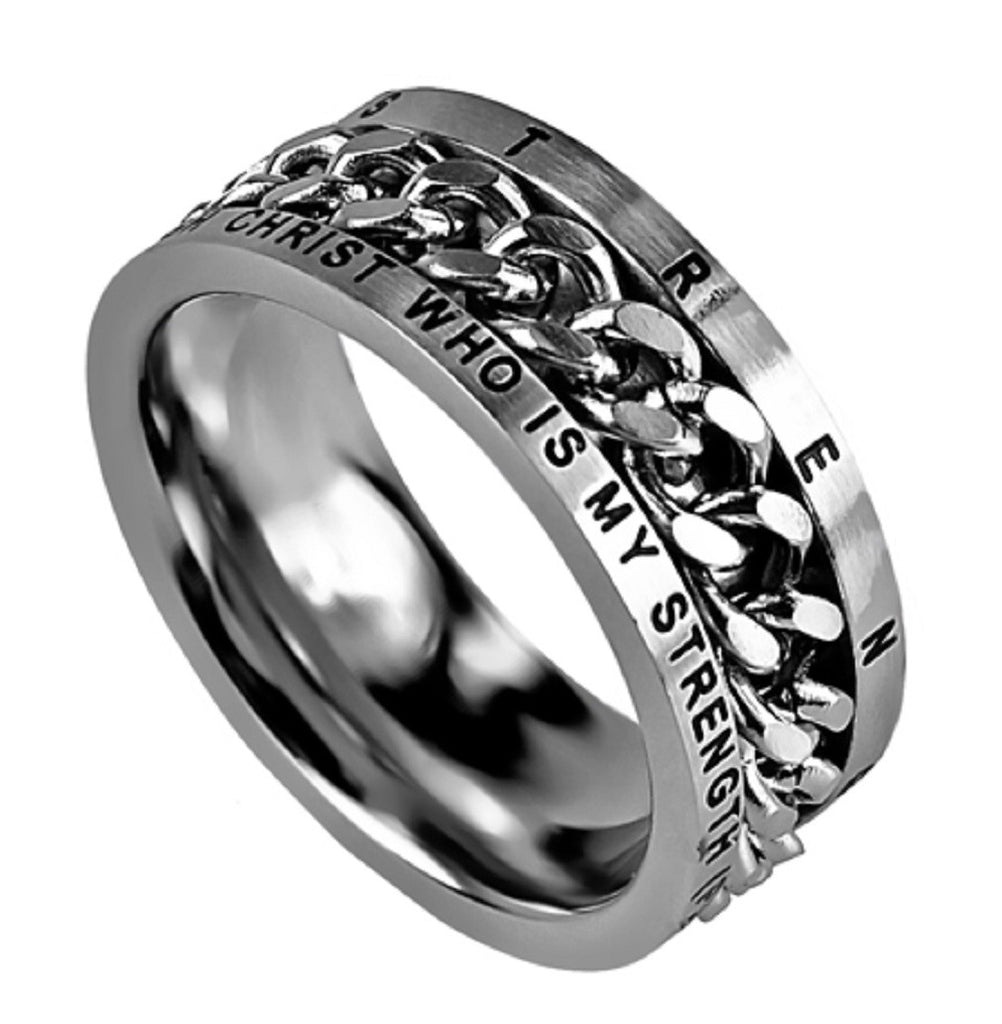 His Strength Philippians Ring