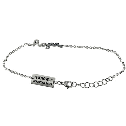 "Hope Bracelet, Jeremiah 29:11 Bible Verse, Adjustable 7"" to 8"" Steel Chain"