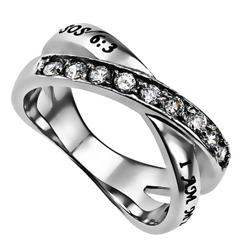 I Am My Beloved Promise Ring Bible Verse, Stainless Steel with CZ Stones