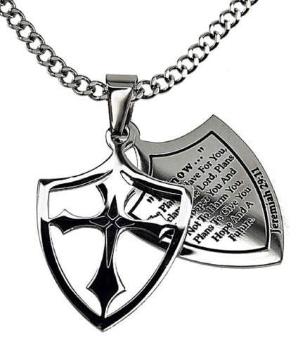 I Know Necklace Two Piece Cross Shield with Bible Verse, Stainless Steel Curb Chain