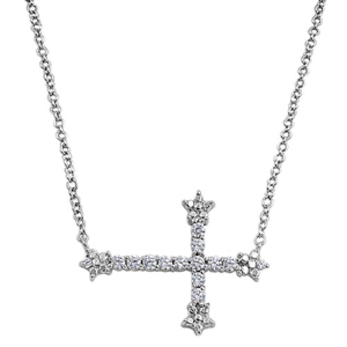 Iced Silver Sideways Cross Necklace
