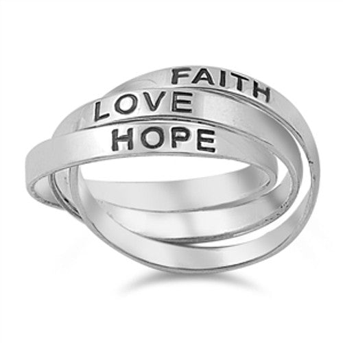 Interlocking FAITH HOPE LOVE Ring