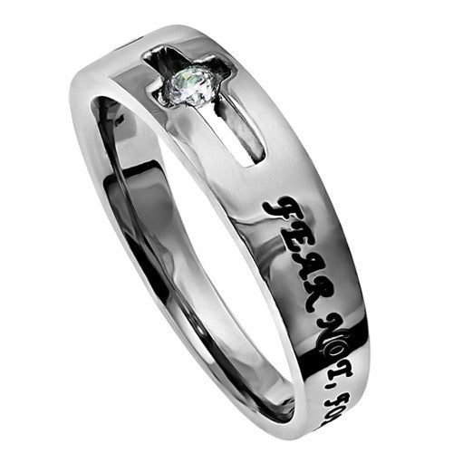 Isaiah 41:10 Ring Fear Not Encouragement Jewelry with Cut Out Cross, Stainless Steel