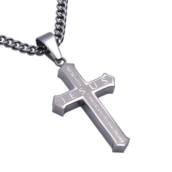 Isaiah 54:17 Jesus Cross Necklace Protection