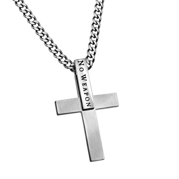 Isaiah 54:17 Sterling Silver Cross Necklaces For Men