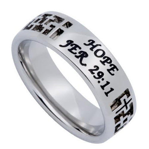 JEREMIAH 29:11 HOPE Jewelry, Bible Verse Cross Ring For Girls, 316L Stainless Steel